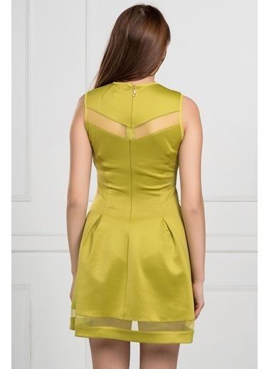 İroni Tül Pencereli Dalgıç Elbise Yeşil